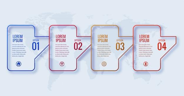 Concept d'infographie d'entreprise moderne avec conception de bannière en 4 étapes