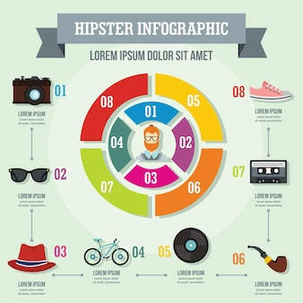 Concept d'infographie hipster, style plat