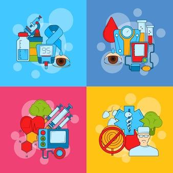 Concept d'infographie icônes de diabète de couleur