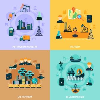 Concept d'infographie d'infrastructures pétrolières
