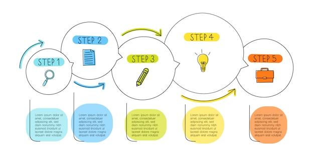 Concept d'infographie de ligne de cercle avec cinq étapes, zones de texte