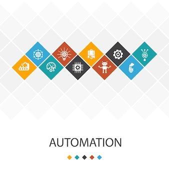 Concept d'infographie de modèle d'interface utilisateur à la mode d'automatisation. productivité, technologie, processus, icônes d'algorithme