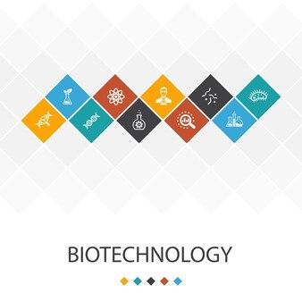 Concept d'infographie de modèle d'interface utilisateur à la mode de la biotechnologie. adn, science, bio-ingénierie, icônes de la biologie