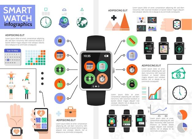 Concept d'infographie de montre intelligente plate