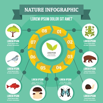 Concept infographie nature, style plat