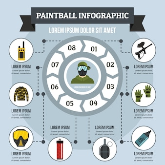 Concept d'infographie paintball, style plat