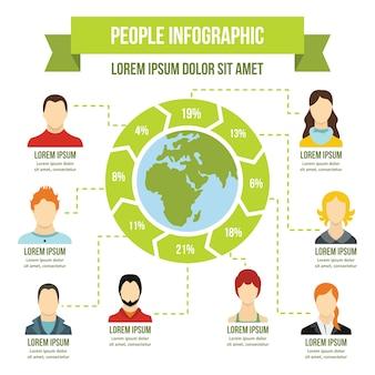 Concept d'infographie personnes, style plat