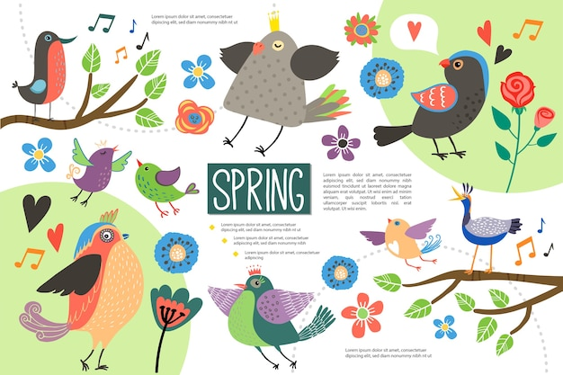 Concept d'infographie plat bonjour printemps