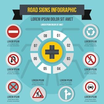 Concept d'infographie routière signe, style plat