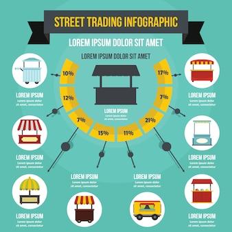 Concept d'infographie rue commerçante, style plat