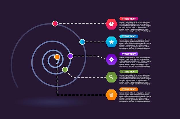 Concept d'infographie en spirale colorée