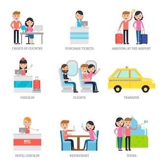 Concept d'infographie de vacances en famille