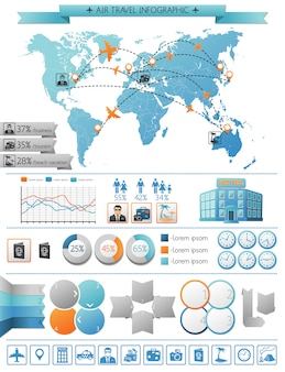 Concept d'infographie de voyage aérien