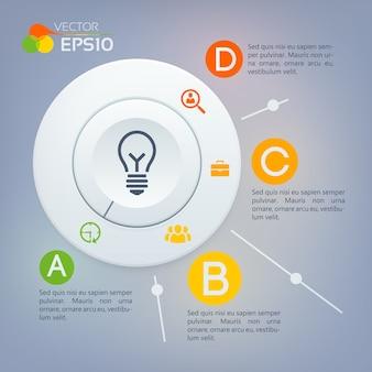 Concept d'infographie web avec diagramme de cercle gris quatre options et icônes d'affaires