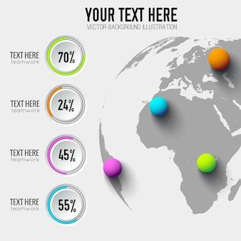 Concept d'infographie web entreprise avec pourcentage de boutons ronds et boules colorées sur globe