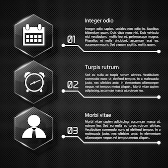 Concept d'infographie web avec des hexagones de verre de texte icônes blanches trois options sur l'illustration de filet sombre