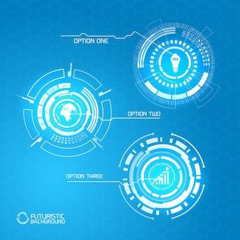 Concept infographique abstrait futuriste avec des icônes de formes brillantes virtuelles et trois options sur bleu