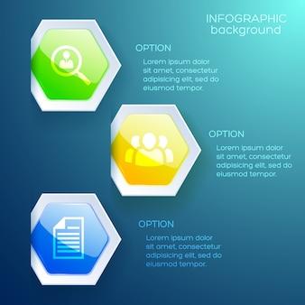 Concept infographique abstrait avec trois options d'icônes commerciales et hexagones brillants colorés