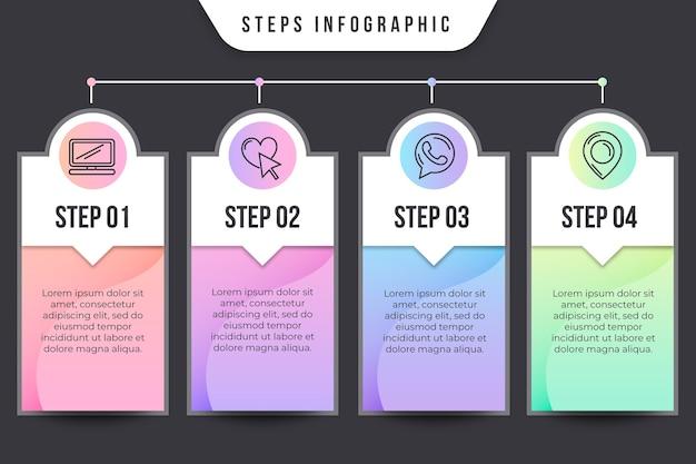 Concept infographique d'étapes
