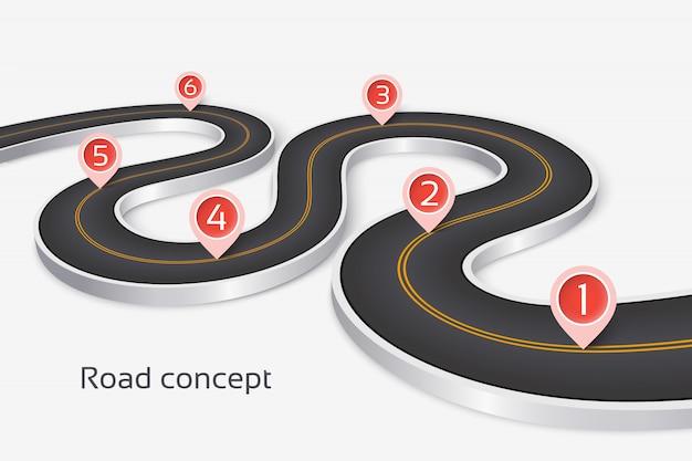 Concept infographique de route 3d sinueuse