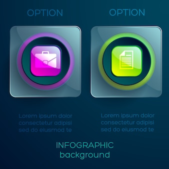 Concept infographique avec texte deux carrés transparents en verre boutons colorés brillants et icônes isolés