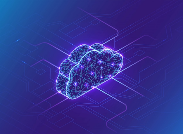 Concept informatique en nuage, néon, réseau de connexion