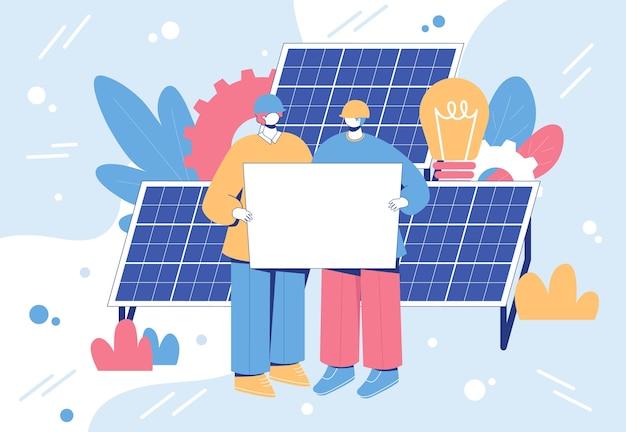 Concept d'ingénierie énergétique alternative. travailleurs avec des panneaux solaires.
