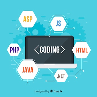 Concept d'ingénierie informatique plat avec ses codes