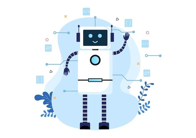 Concept d'ingénierie et de technologie du cerveau numérique d'intelligence artificielle avec des données ou des systèmes de programmeur pouvant être configurés dans un contexte scientifique. illustration vectorielle
