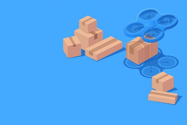 Concept innovation drone livraison boîte colis isométrique