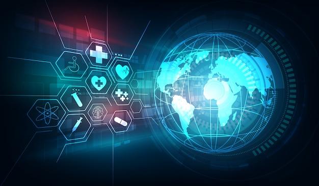 Concept d'innovation globe et soins de santé médicaux