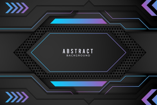 Concept d'innovation technique de conception métallique abstraite bleu et noir. vecteur premium