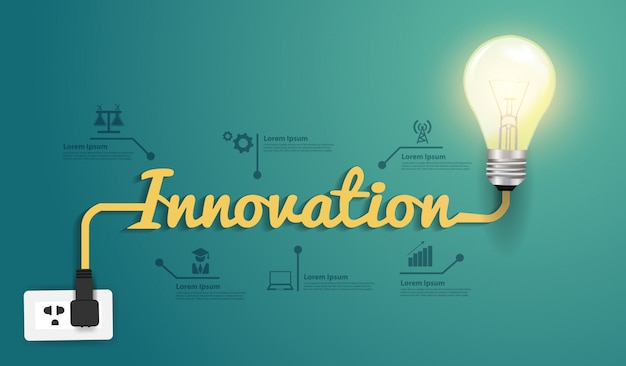 Concept d'innovation de vecteur, idée créative ampoule