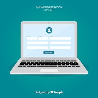 Concept d'inscription en ligne avec design plat