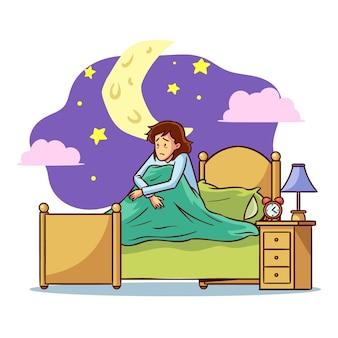 Concept d'insomnie avec femme au lit