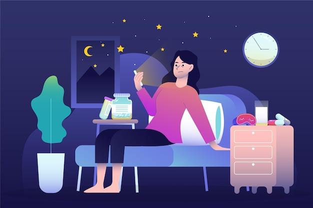 Concept d'insomnie avec femme et téléphone