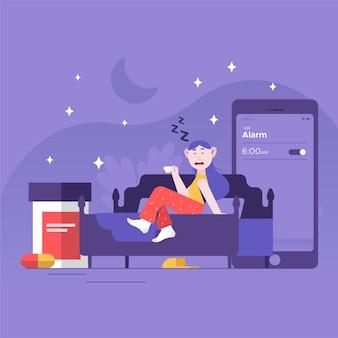 Concept d'insomnie avec femme