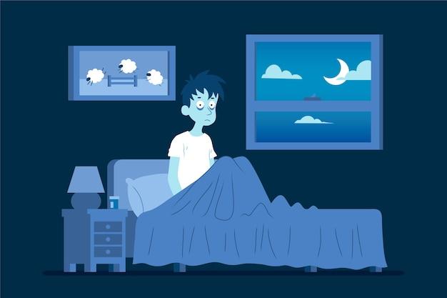 Concept d'insomnie illustré