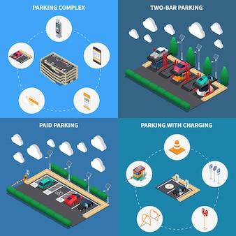 Concept d'installations de parkings 4 icônes de compositions isométriques carré avec des stalles de charge complexe à plusieurs niveaux
