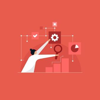 Concept d'intelligence analytique d'affaires, graphiques financiers pour analyser les bénéfices et les finances