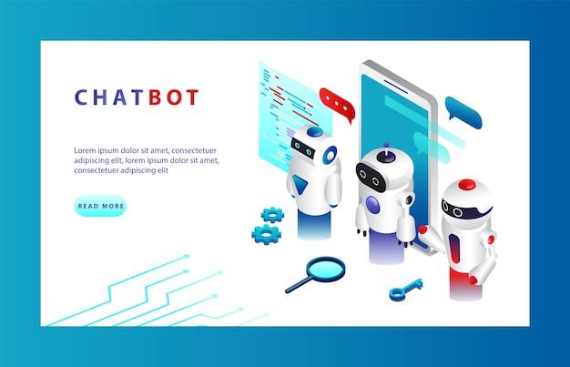 Concept d'intelligence artificielle. chatbot et marketing moderne. concept d'ia et d'affaires iot. applications chatbot sur différents appareils.