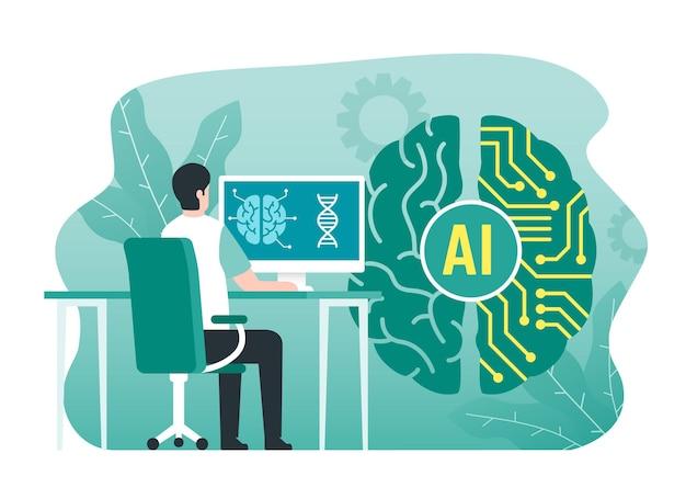 Concept d'intelligence artificielle avec circuit cérébral numérique
