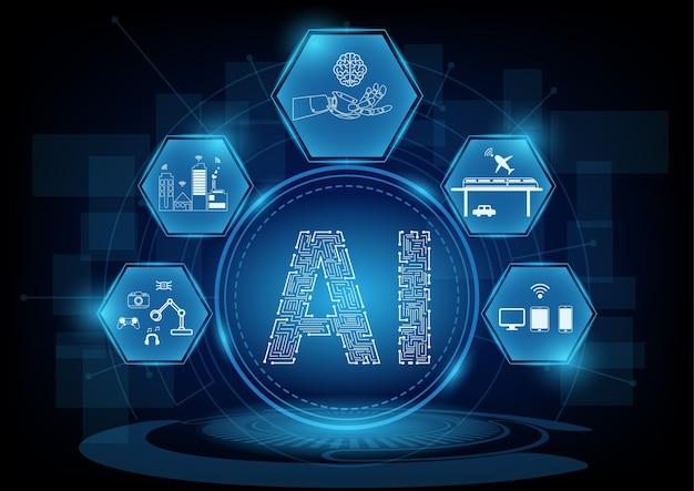 Concept d'intelligence artificielle avec l'icône de la ligne.