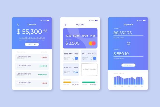 Concept d'interface d'application bancaire