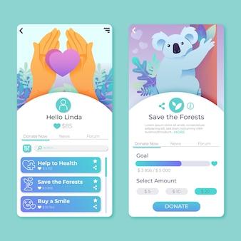 Concept d'interface d'application de charité