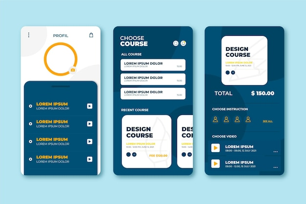 Concept d'interface d'application de cours