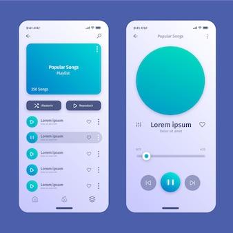 Concept d'interface de l'application lecteur de musique