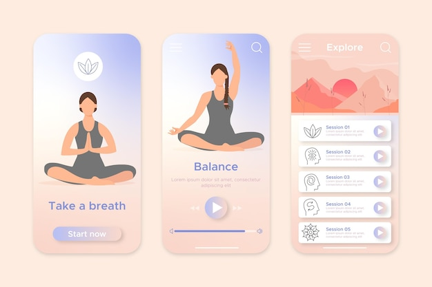 Concept d'interface d'application de méditation