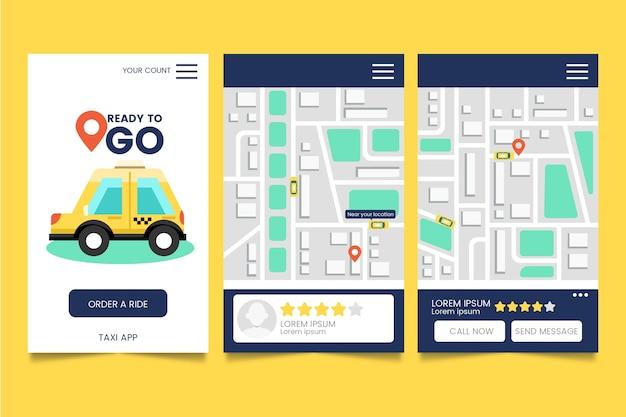 Concept d'interface de l'application de taxi