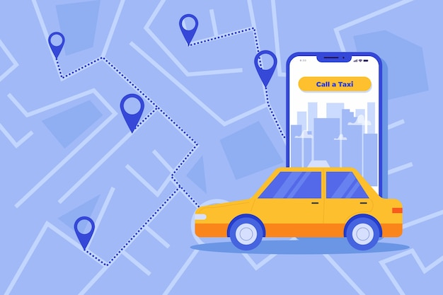Concept d'interface de l'application de taxi